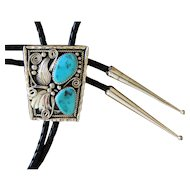 Navajo Silver Bolo Tie Turquoise Jimmy Yazzie