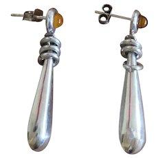 Vintage Silver Amber Dangle Earrings European