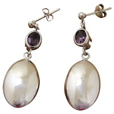 Vintage Silver Amethyst Dangle Earrings European