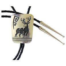 Navajo Silver Bolo Tie Rosco Scott Figural