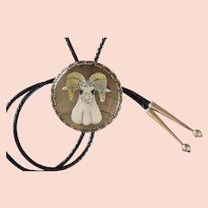Vintage Zuni Silver Bolo Tie Effie Qualo Ram's Head