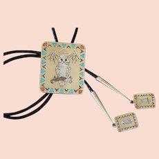 Zuni Silver Bolo Tie Ghahate Inlaid Owl