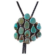 Vintage Silver Bolo Tie Turquoise Cabochons