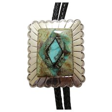 Vintage Lapidary Bolo Tie Silver Turquoise Inlay