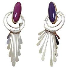 Navajo Silver Earrings Dangles Andy Marion