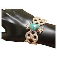 Vintage Navajo Silver Bracelet Cast with Turquoise PETITE