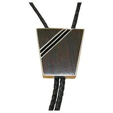 Vintage Navajo Silver Bolo Tie White Hogan Ironwood