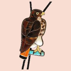 Zuni Porfilio Sheyka Bolo Tie Hawk Figure