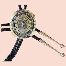 Navajo Silver Bolo Tie Concho Darryl Becenti