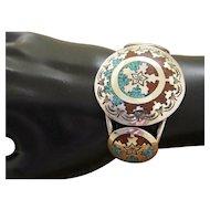 Navajo Silver Cuff Bracelet Inlaid Jimmie Patterson