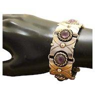 Mexican Silver Bracelet Amethyst Pre Eagle