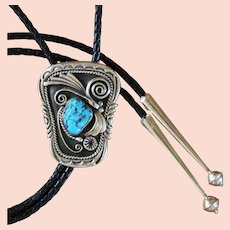 Navajo Silver Bolo Tie Turquoise Tom Curtis