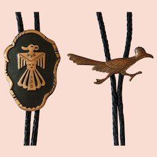 Vintage Copper Bolo Ties Eagle Road Runner