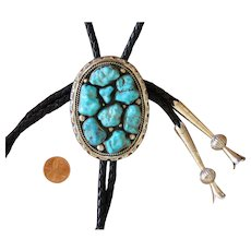 Navajo Silver Bolo Tie Turquoise Nuggets Signed