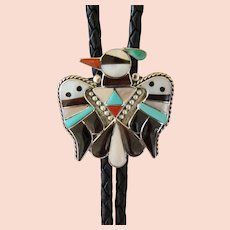 Zuni Silver Bolo Tie B & C Shack Inlaid