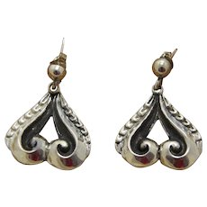 Taxco Silver Earrings Dangles Pre Columbian