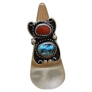 Navajo Silver Ring Turquoise Coral Signed