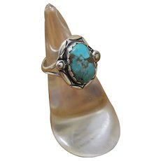 Navajo Silver Ring Turquoise Signed