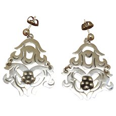 Vintage Mexican Silver Earrings Ornate Dangles