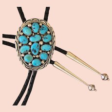 Navajo SIlver Bolo Tie Turquoise Coral Applique