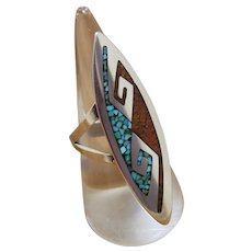 Tommy Singer Navajo Silver Ring Inlaid