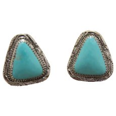 Navajo Silver Earrings Turquoise Benny Pinto
