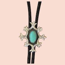 Navajo Silver Bolo Tie Cast Turquoise