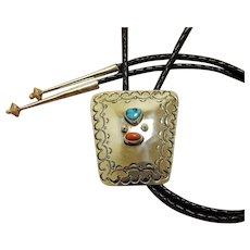 Silver Bolo Tie Vintage 1960s Hand Made