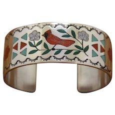 Zuni Silver Bracelet Fine Inlay R Ghahate