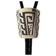 Navajo SIlver Bolo Tie Signed Malachite
