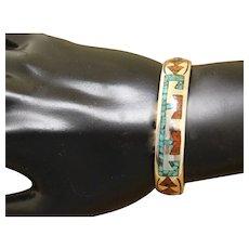 Vintage Navajo Silver Bracelet Inlaid Signed