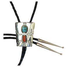 Navajo SIlver Bolo Tie Turquoise Coral Signed