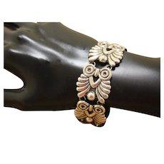Taxco Silver Bracelet Eagle Mark Precolumbian Design