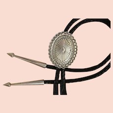 Navajo Silver Bolo Tie Ray Tracey Knifewing