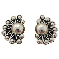 Vintage Taxco Silver Earrings Bold Modernist