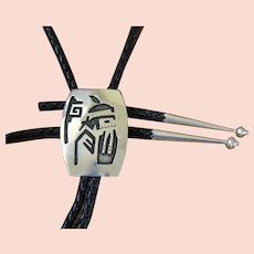 Hopi Silver Bolo Tie Kachina Signed