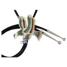 Navajo Silver Bolo Tie Inlaid Corbet Joe Eagle