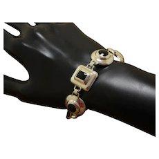 Silver Modernist Link Bracelet Obsidian