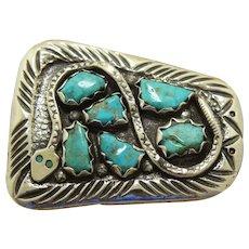 Zuni Belt Buckle Juan Calavaza Turquoise