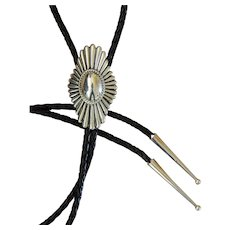 Navajo Silver Bolo Tie Concho Style Leroy Nelson