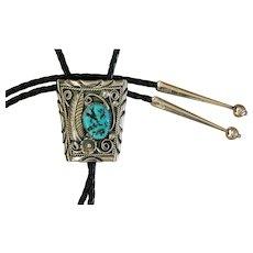 Navajo Silver Bolo Tie Applique Turquoise Signed