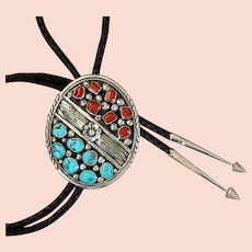 Navajo Silver Bolo Tie Turquoise Coral Large