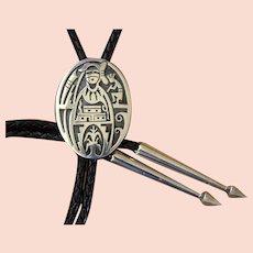 Hopi Silver Bolo Tie Marcus Coochwikvia Figural