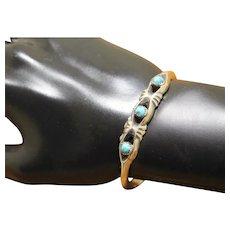 Navajo Silver Bracelet Cast Turquoise PETITE