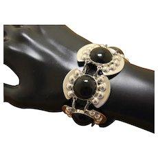 Mexican Silver Bracelet Obsidian Pre Eagle PETITE