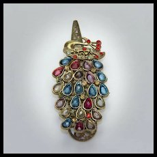 Vintage Jeweled Peacock Clip