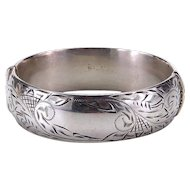 Vintage Engraved Sterling Silver Bangle