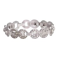 Vintage Sterling Silver and Paste Deco Bracelet