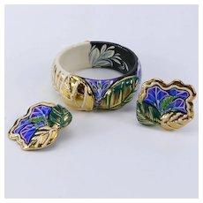Vintage Hand Designed Bracelet and Earring Set Signed