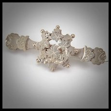 1896 Victorian Sterling Silver Maple Leaf Bar Brooch